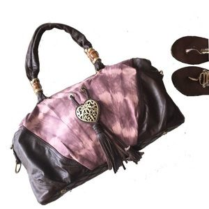 Sharif ♡ Bamboo Accent Leather Hobo Bag ♡ Tie Dye